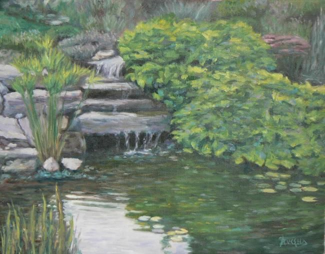 Méditation - Painting,  14.2x18.1 in, ©2006 by Azucena -                                                                                                                                                                          Classicism, classicism-933, Garden pond water