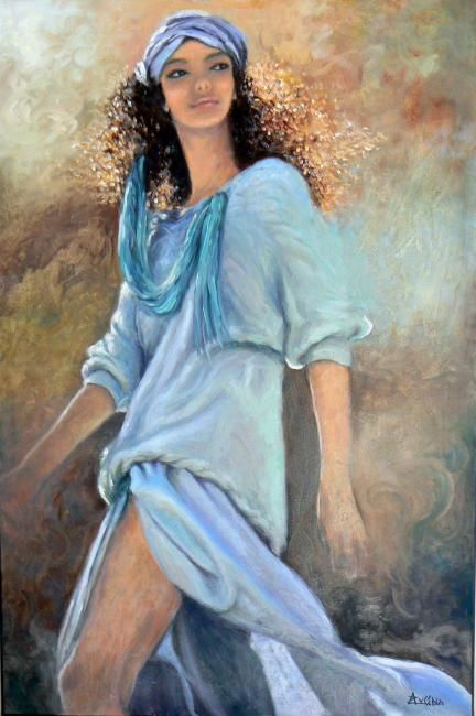 """Viens-t'en!"" - Painting,  35.8x24 in, ©2007 by Azucena -                                                                                                                                                                          Figurative, figurative-594, Young woman people figure femenine"