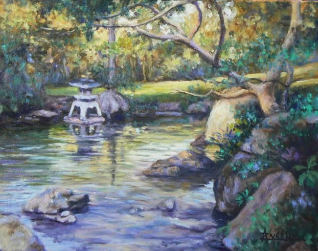 Au jardin japonais - Painting,  14.2x18.1 in, ©2008 by Azucena -                                                                                                                                                                          Figurative, figurative-594, Japanese gardens water intimate