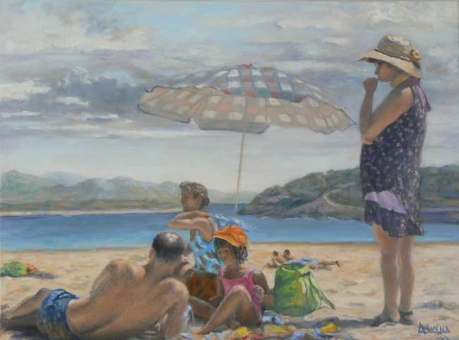 A la plage, en famille - Painting,  18.1x24 in, ©2008 by Azucena -                                                                                                                                                                          Classicism, classicism-933, Beach family nude children sea people
