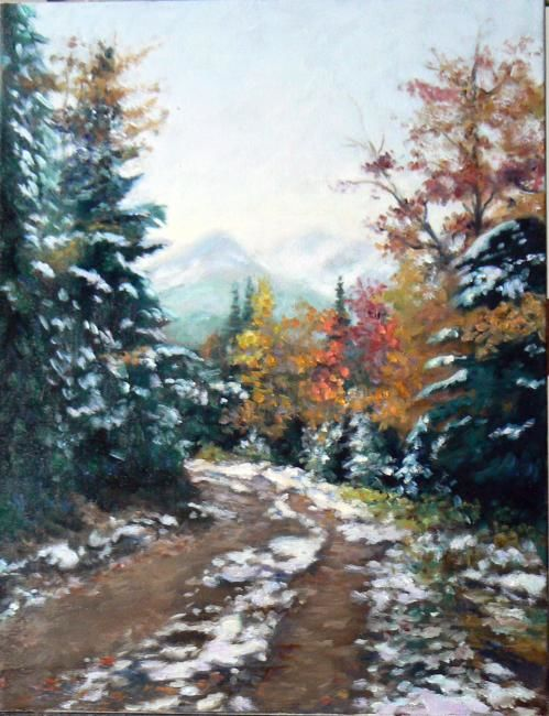 Neige d'octobre - Painting,  36x46 cm ©2008 by Azucena -                            Figurative Art, Fall nature snow trail landscape