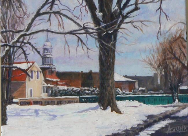 Jour d'hiver à La Prairie - Painting,  12.2x16.1 in, ©2008 by Azucena -                                                              Old village of La Prairie on a snowed winter morning