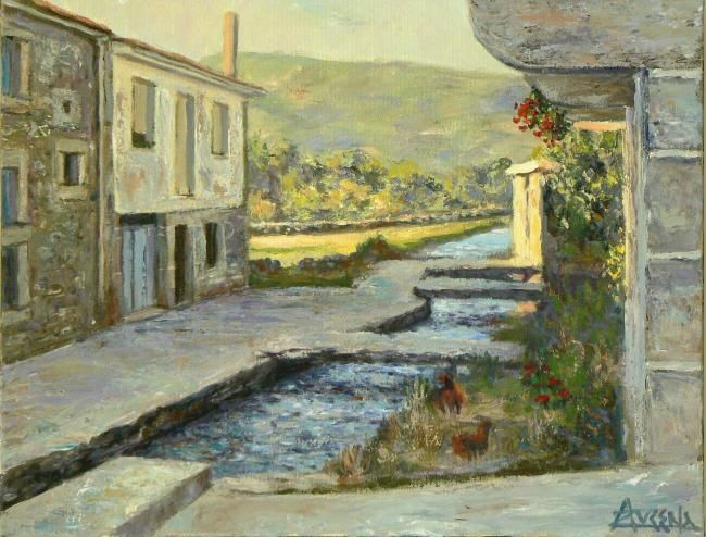 Una tarde en La Nava - Painting,  14.2x18.1 in, ©2009 by Azucena -                                                                                                                                                                                                                      Figurative, figurative-594, Small street on a village of Gredos, Spain. Countryside on the background