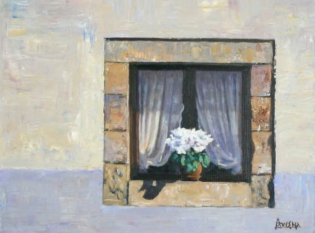Intimité - Painting,  36x46 cm ©2008 by Azucena -                            Figurative Art, Village window with lace and flowers