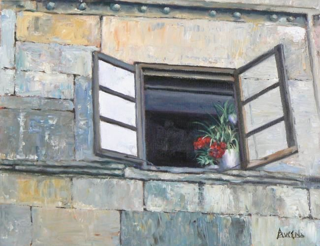 Vieux murs charmeurs - Painting,  36x46 cm ©2008 by Azucena -                            Figurative Art, Open window with flowers on a village of the North of Spain