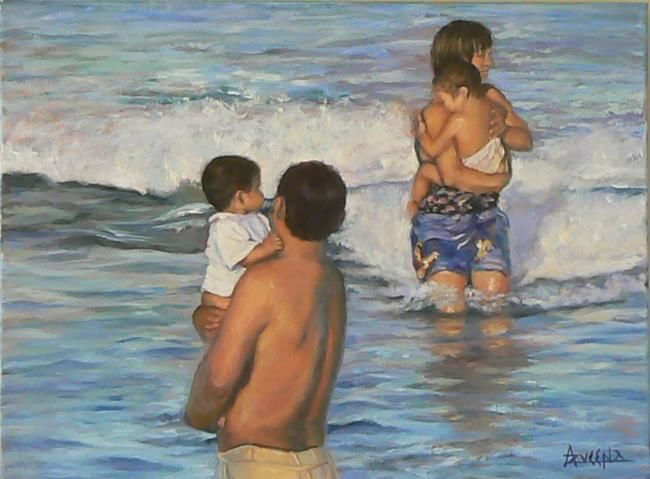 Tiens-moi fort - Painting,  18.1x24 in, ©2009 by Azucena -                                                                                                                                                                          Classicism, classicism-933, Male and female with children getting into the sea. Family scene at seaside.