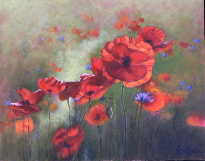 La dance des coquelicots - Painting,  18.1x20.1 in, ©2009 by Azucena -                                                                                                                                                                          Figurative, figurative-594, Poppy's field