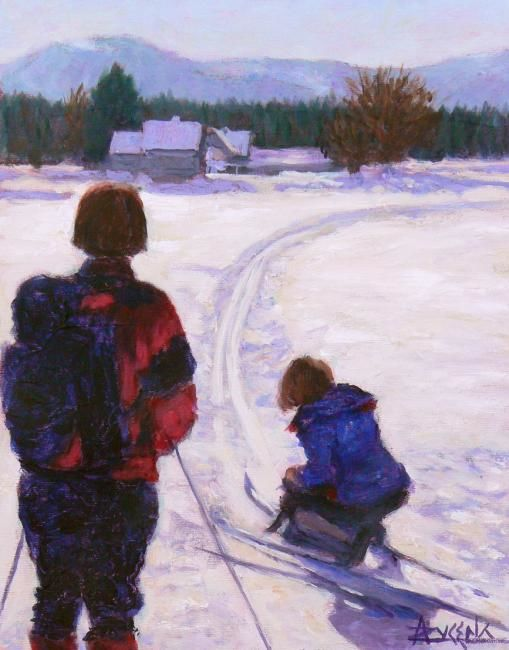 Quelle belle journée! - Painting,  14x11 in, ©2009 by Azucena -                                                                                                                                                                          Figurative, figurative-594, X-country skiers stoping on the trail