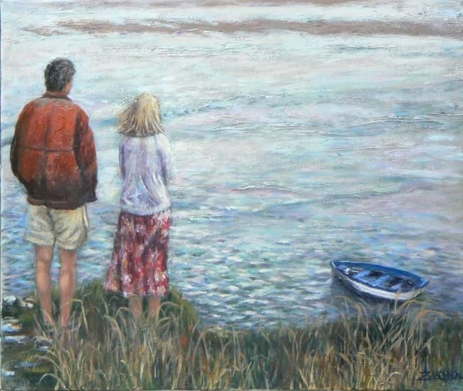 Réflexions, un après-midi gris - Painting,  20.1x24 in, ©2010 by Azucena -                                                                                                                                                                          Figurative, figurative-594, Couple gazing  a river on a grey afternoon