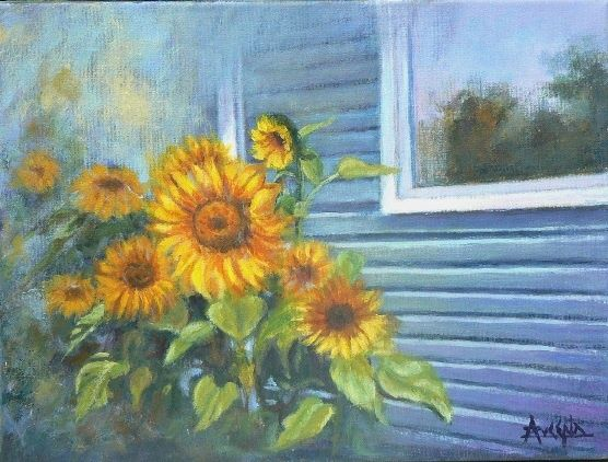 Le soleil chez elle - Painting,  12.2x16.1 in, ©2010 by Azucena -                                                              Sunflowers in front of a house