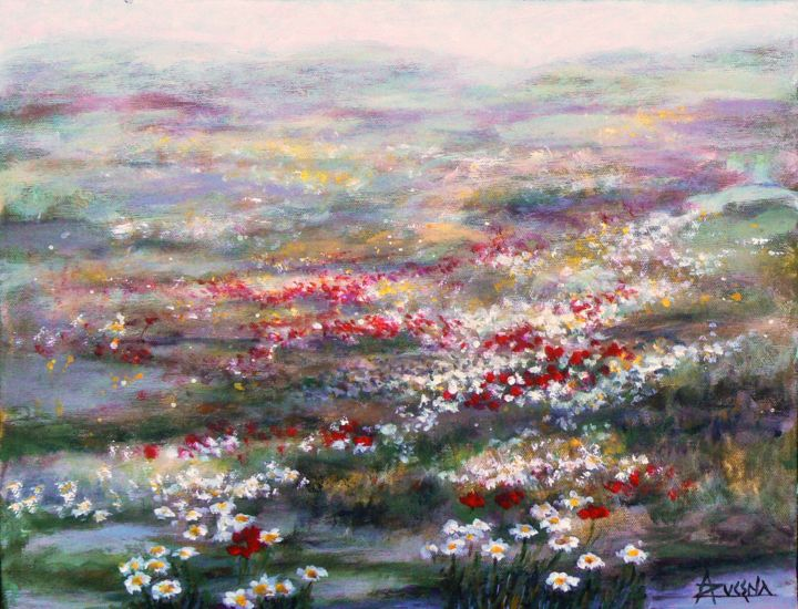 Champ des fleurs - Painting,  14.2x18.1 in, ©2011 by Azucena -                                                                                                                                                                          Figurative, figurative-594, Field of flowers
