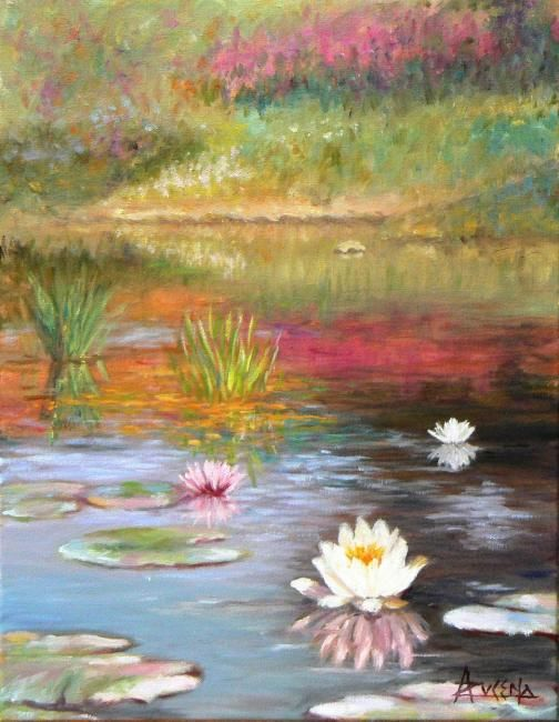 Étang rêveur - Painting,  46x36 cm ©2011 by Azucena -                            Figurative Art, Pond with lillies