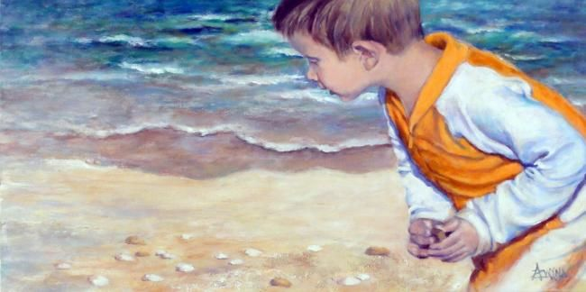 Aaah, qu'ils sont beaux! - Painting,  15x29.9 in, ©2012 by Azucena -                                                                                                                                                                          Figurative, figurative-594, A young child looking for seashells on the beach