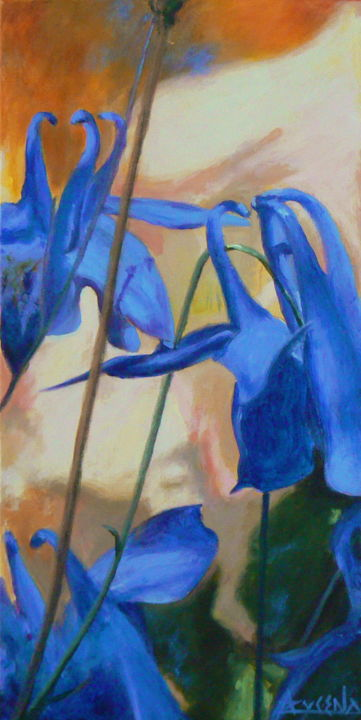 Mirage - Painting,  24x12.2 in, ©2012 by Azucena -                                                                                                                                                                          Figurative, figurative-594, Blue flowers ancholies close-up flowers