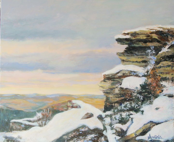 Le-gardien-du-sommet - The summit keeper - Painting,  1.2x20.1x24 in, ©2013 by Azucena -                                                                                                                                                                                                                                                                                                                                                                                                                                                                                                                                              Impressionism, impressionism-603, Landscape, Mountains, snow, rocks, fall colours, Chic-Chocs, Québec, Canada, landscape.
