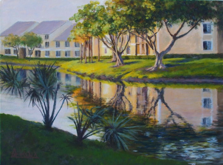 From the bicycle path - De la piste des bicyclettes - Painting,  12.2x16.1x1.6 in, ©2016 by Azucena -                                                                                                                                                                                                                                                                                                                                                                                                          Impressionism, impressionism-603, Landscape, Houses, Water, Canal, Florida, bycicle path