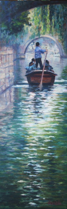 """""""Zhouzhuang Impressions"""" - Painting,  29.9x10x0.8 in, ©2017 by Azucena -                                                                                                                                                                                                                                                                                                                                                                                                          Impressionism, impressionism-603, Landscape, Zhouzhuang, Boat, water, bridge, China"""