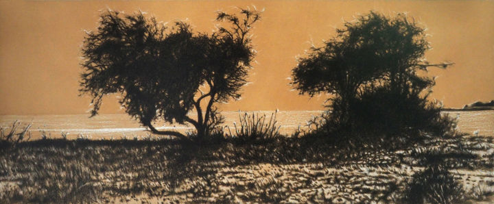 La plage aux coquillages 2, Ile d'Aix - Drawing,  19.7x47.2 in, ©2017 by B-ALEXIS -                                                                                                                                                                          Figurative, figurative-594, Tree