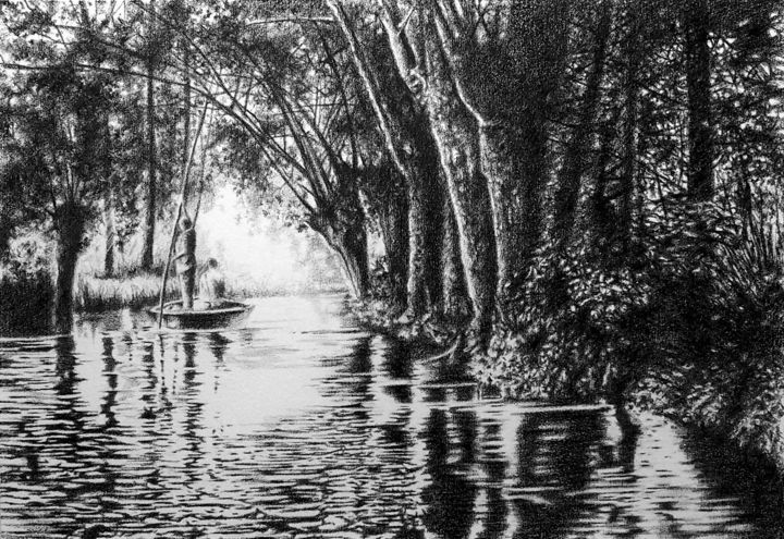 Le marais-poitevin - Drawing,  50x70 cm ©2019 by B-ALEXIS -