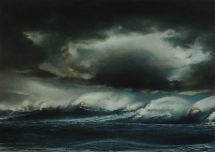 Thurso. (Vague Highland.) - Painting,  11.2x16x0.8 in, ©2020 by B-Alexis -                                                                                                                                                                          Figurative, figurative-594, Seascape