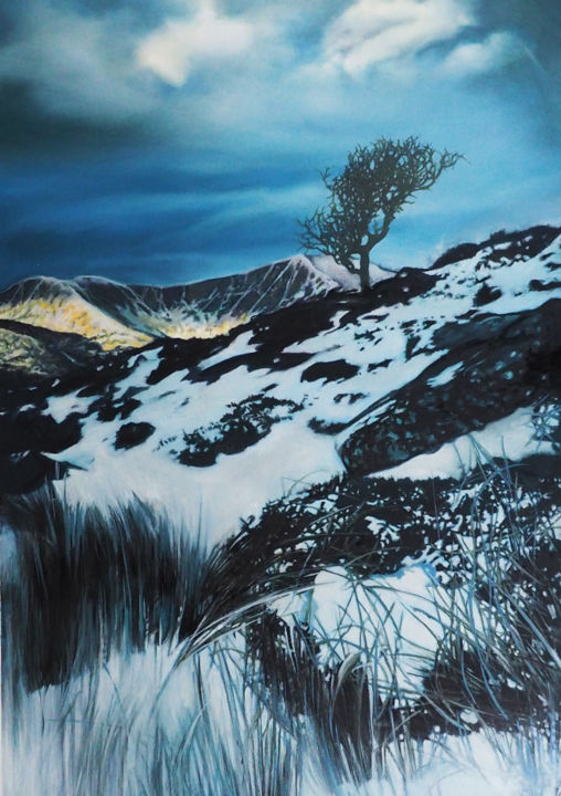 Cuillin Hills - Painting,  15.8x10.8 in, ©2020 by B-Alexis -                                                                                                                                                                          Figurative, figurative-594, Mountainscape