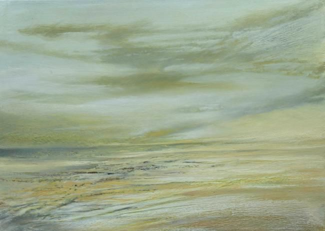 LA PLAGE DU SILENCE - Painting,  19.7x27.6 in, ©2011 by B-ALEXIS -                                                                                                                                                                                                                      Expressionism, expressionism-591, Plage, silence