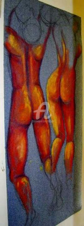 3/ couple - Painting,  74.8x47.2 in, ©2001 by Elisabeth FAUCHEUR -