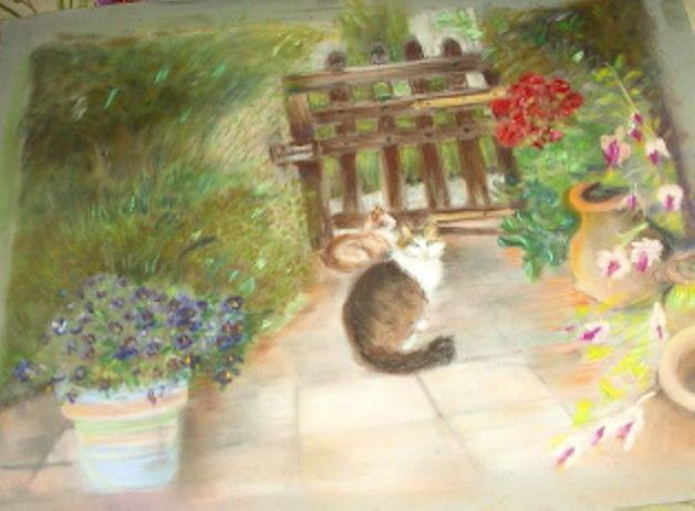MON CHAT - Painting ©2008 by Babou -