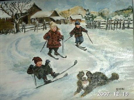 LES SKIEURS - Painting ©2008 by Babou -
