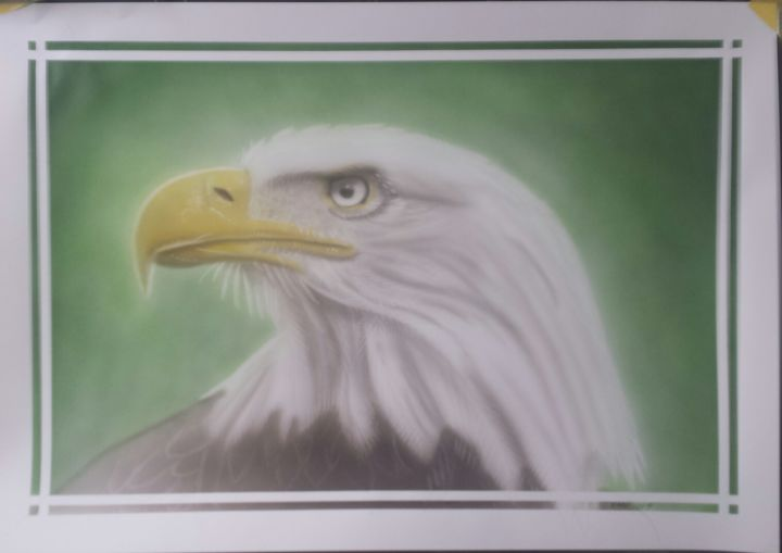 eagle05.jpg - Painting,  13.8x19.7 in, ©2019 by Bad65 Airbrush -                                                                                                              Animals, arend