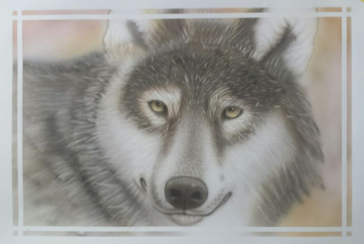 wolf06.jpg - Painting,  13.8x19.7 in, ©2019 by Bad65 Airbrush -