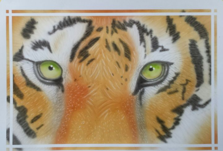 Tiger eyes - Painting,  13.8x19.7 in, ©2019 by Bad65 Airbrush -                                                                                                                                                                          Illustration, illustration-600, Animals