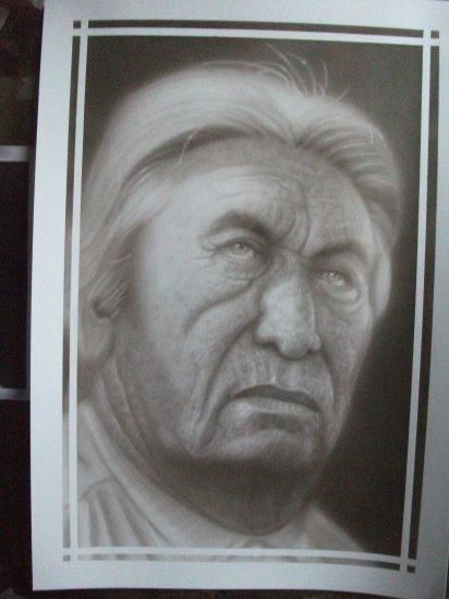 Old Cheyenne - Painting,  19.7x13.8 in, ©2013 by Bad65 Airbrush -                                                                                                                                                                          Figurative, figurative-594, Airbrush portrait