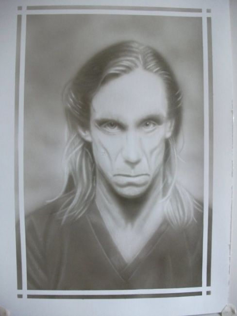 Iggy Pop - Painting,  16.9x11.8 in, ©2013 by Bad65 Airbrush -                                                              airbrush portrait Iggy Pop