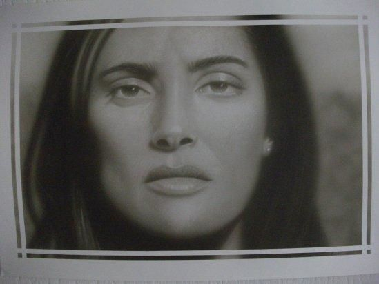 Salma Hayek - Painting,  13.8x19.7 in, ©2013 by Bad65 Airbrush -                                                                                                                                                                          Figurative, figurative-594, airbrush painting Sama Hayek