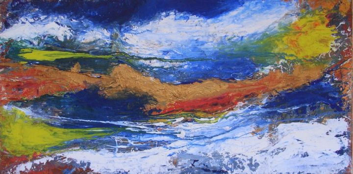 Meerblick - Painting,  19.7x39.4 in, ©2004 by Baderart -                                                                                                                                                                                                                                                                                                                  Abstract, abstract-570, Seascape, Meer, Wasser, Landschaft