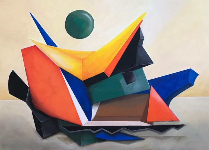 Arche Noah - Painting,  47.2x55.1x1.4 in, ©2019 by Baderart -                                                                                                                                                                                                                                                                  Abstract, abstract-570, Abstract Art, Boat, Religion