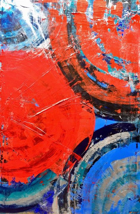 Hurricane - Painting,  35.4x23.6x1.4 in ©2019 by Veronika Holiencin -                                                                                            Abstract Art, Abstract Expressionism, Modernism, Outsider Art, Abstract Art, Nature, acrylic, abstract, canvas, nature, wind, wild, red, blue, hurricane, black, turquoise