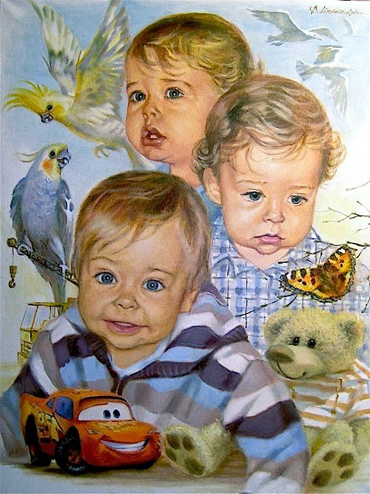 """Painting titled """"Little Rudolph"""" by baibalimane, Original Art, Oil"""
