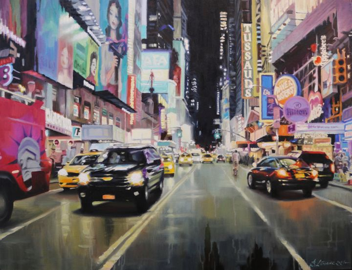 """Painting titled """"Times Square in New…"""" by baibalimane, Original Art, Oil"""