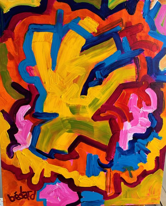 """Painting titled """"""""YELLOW SPRITE"""""""" by Bailey Bedard, Original Art, Acrylic"""