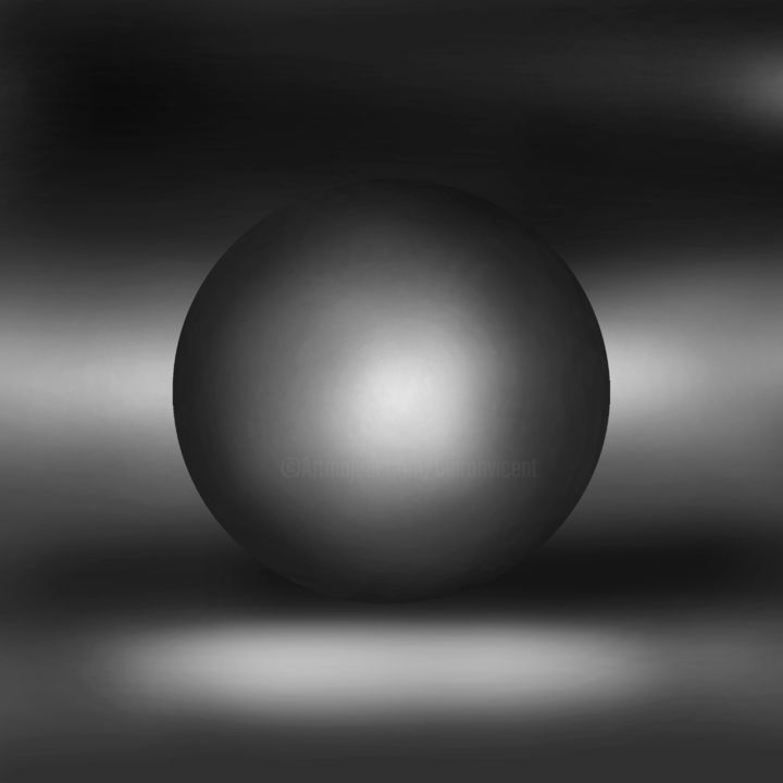 SPHERES AND PARADOXES 2 - Digital Arts,  80x80x0.3 cm ©2019 by VICENT CREATIK -                                                                                                                        Conceptual Art, Abstract Art, Figurative Art, Minimalism, Aluminum, Abstract Art, Black and White, Geometric, Dibujo digital, Pintura digital, Conceptual, Figurativo, abstracto, Impresion digital, Aluminio, Geometria, Esferas, Luces y Sombras