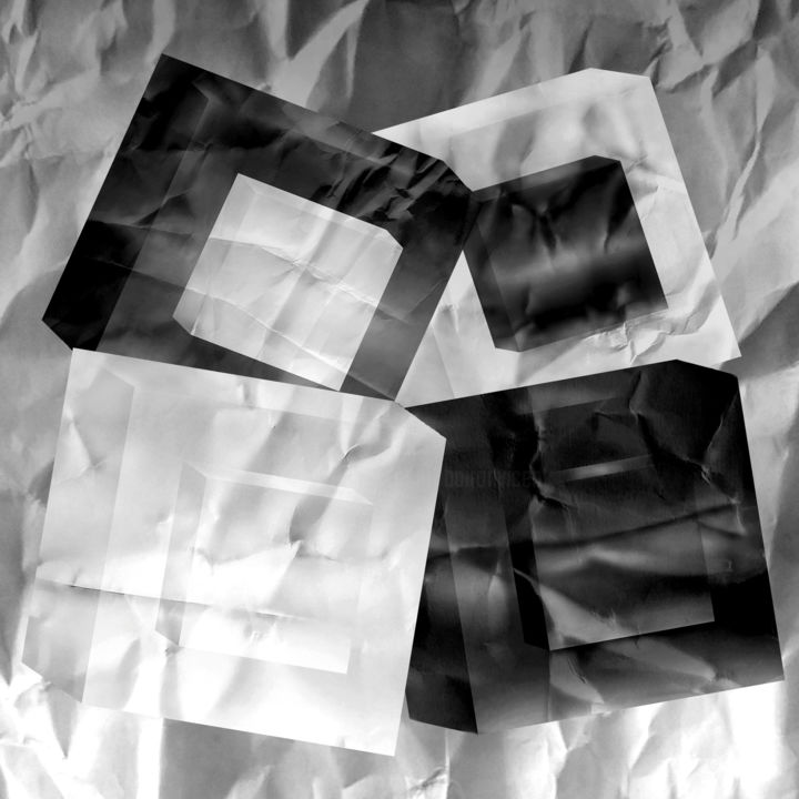 FOUR CUBES IN A CHAOS - 1 - Digital Arts,  39.4x39.4x0.1 in ©2019 by VICENT CREATIK -                                                                                                        Conceptual Art, Abstract Art, Cubism, Contemporary painting, Abstract Art, Black and White, Geometric, dibujo pintura digital, conceptual, abstracto, geometria, cubos, luces y sombras, arrugas, filosofia, impresion digital aluminio, fotomontaje, caos
