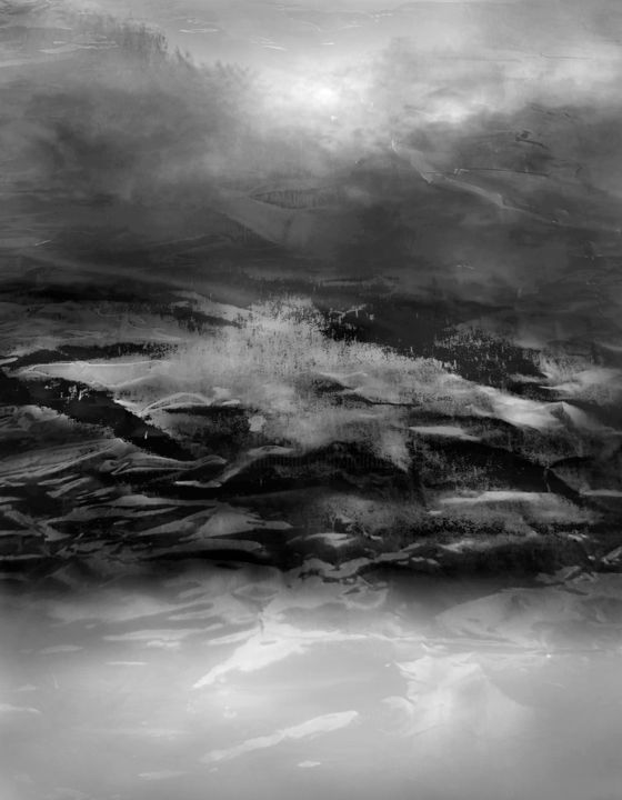 IRREGULAR EMPTY SPACE 4 - Digital Arts,  35.4x27.6x0.1 in, ©2020 by VICENT CREATIK -                                                                                                                                                                                                                                                                                                                                                                                                                                                                                                                                                                                                                                                                                                                                                                          Conceptual Art, conceptual-art-579, Abstract Art, Black and White, Landscape, pintura y dibujo digital, fotomontaje digital, conceptual, abstracto, figurativo, blanco y negro, luces y sombras, metafisica, impresion digital aluminio, irregular, vacio