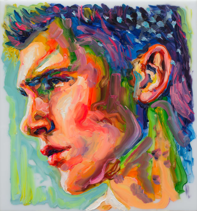"""Oleksandr Balbyshev """"FACE STUDY #5"""" - Painting,  12.6x11.8x0.1 in, ©2018 by Oleksandr Balbyshev -                                                                                                                                                                                                                                                                                                                                                                                                                                                                                                                                                                                                                                                                                                                                                                                                                                                                                                                                                          Expressionism, expressionism-591, Body, Erotic, Men, Nude, People, portrait, sensuality, sexy, boy, bright colors, cute guy, young man, erotic, face, blue hair, handsome, male, Balbyshev"""