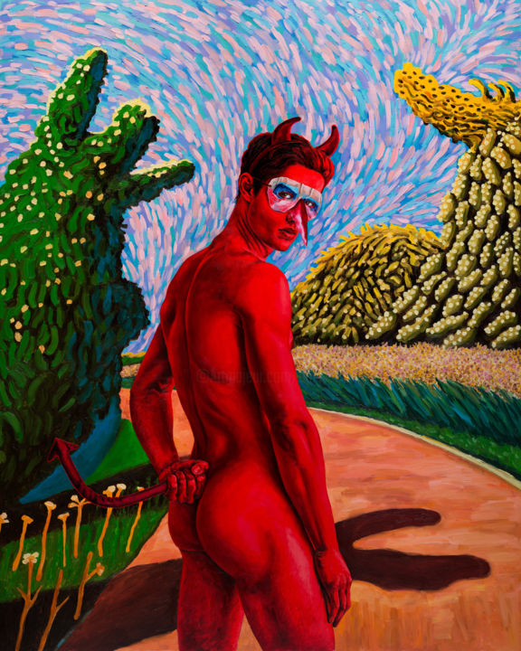 "Oleksandr Balbyshev ""Red Guy"" - Painting,  59.1x47.2 in, ©2019 by Oleksandr Balbyshev -                                                                                                                                                                                                                                                                                                                                                                                                                                                                                                                                                                                                                                                                                                                                                                                                                                                                                                                                                          Figurative, figurative-594, Body, Erotic, Men, Nude, People, pride, red, booty, boy, young man, Hockney, devil, gay, handsome, landscape, back, male, erotic"
