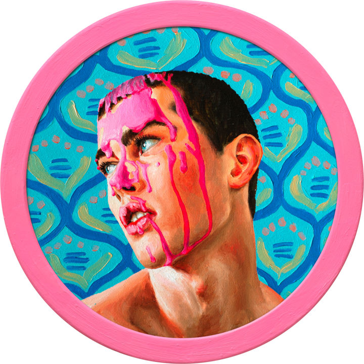 """Oleksandr Balbyshev """"Pink on the Face 2"""" - Painting,  11x11x0.8 in, ©2019 by Oleksandr Balbyshev -                                                                                                                                                                                                                                                                                                                                                                                                                                                                                                                                                                                                                                                                                                                                                                                                                                                                  Figurative, figurative-594, Body, Erotic, Men, Portraits, male, handsome, gay, young man, cute guy, bright colors, closed eyes, boy, blue, sexy, seductive, pink"""