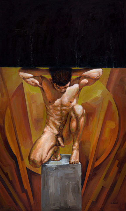"""Oleksandr Balbyshev """"The Slave"""" - Painting,  68.9x41.3x1 in, ©2014 by Oleksandr Balbyshev -                                                                                                                                                                                                                                                                                                                                                                                                                                                                                                                                                                                                                                                                                                                                                                          Figurative, figurative-594, Body, Erotic, History, Men, Portraits, body, symbolism, texture, erotic, expressive, abstract, figurative, nude, male"""