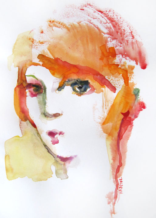 Rousse - Painting,  11.8x8.3 in, ©2019 by Sylvia Baldeva -                                                                                                                                                                                                                                                                                                                                                                                                                                                                                                                                                                                                                                                                                                                                                                                                                                                                  Expressionism, expressionism-591, Portraits, Women, portrait, woman, red, hair, ginger, face, visage, orange, watercolor, aquarelle, expressionism, montype, sylvia baldeva, painting