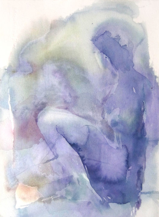 Nébuleuse - Painting,  15x11 in, ©2017 by Sylvia Baldeva -                                                                                                                                                                                                                                                                                                                                                                                                                                                                                                                                                                                                                                                                                                                                                                                                                                                                                                              Abstract, abstract-570, Fairytales, Fantasy, People, Women, woman, femme, abstract, abstraction, purple, violet, watercolor, aquarelle, sylvia baldeva, painting, peinture, work on paper, canson
